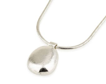 Handmade Silver drop Necklace, Silver stone Necklace, 3D Ellipse necklace, Minimalist Necklace , Everyday Necklace