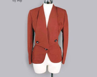 1940's Women's Rust Colored Fitted Suit Jacket Blazer