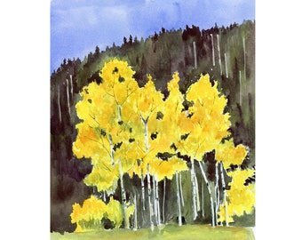 Aspens Painting, Original Watercolor, Autumn Art, Fall Leaves, Golden Aspens, Colorado Art