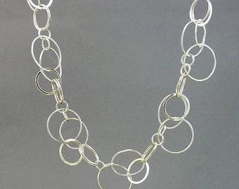 Modernist Sterling 925 Necklace Multi Interlocking Circle Links