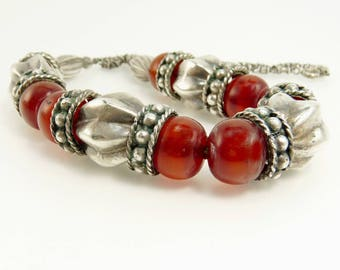 Ethnic Tribal Necklace Sterling Silver Cherry Amber Beads