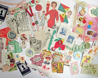 Vintage Ephemera Scrapbooks, Collage, Art Works Pack,  50 + Pieces, All Original Items, Vintage Women Ephemera, Paper Goods, Buttons, Trims