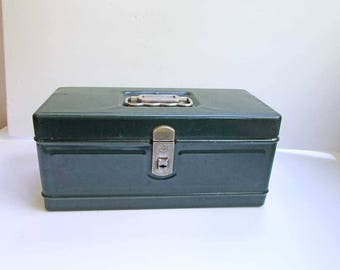 Vintage 1950's Dark Green Metal Worker's Tool, Supplies or Tackle Box, Climax from Hamilton Metal Prod., Ohio, Steel Tool Box