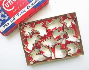Metal Cookie Cutters, Set of 12 Vintage Metal Holidays Shapes Figural Cookie or Creative Cutters in Box