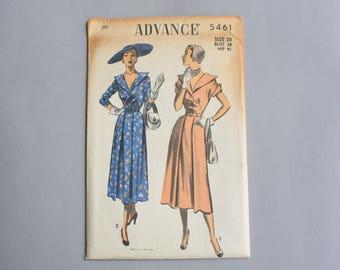 1950s Sewing Pattern / Vintage 50s Uncut Dress Pattern / Advance Pattern 5461 Portrait Collar Pleated Skirt size 20 bust 38 waist 32 M L