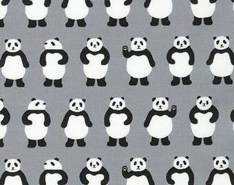 Pandas Grey Sevenberry Mini Print Robert Kaufman Fabric 1 yard