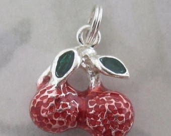ON SALE- Sterling silver 925 enameled cherries cherry fruit salad rockabilly charm - s29