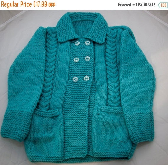 Christmas In July Handknitted Turqoise Cabled Cardigan/Jacket to fit 2 Year Old.
