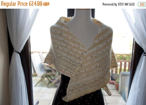 Christmas In July Handknitted Shawl in Beige and Cream