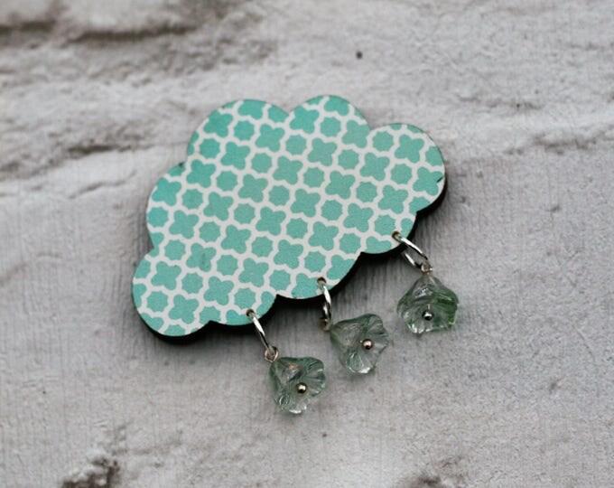 Mint Green Rain Cloud Brooch, Arrow Cloud Pin, Wooden Weather Brooch, Cloud Badge, Wood Jewelry