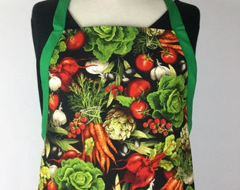 Vegetable Garden Apron. Reversible Apron. Adult Apron With Pockets. Gifts  For Gardeners.