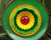Green Red and Yellow Glass Plate Flower Garden Art Hand Painted Yard Sculpture