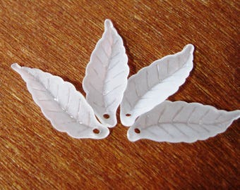 Frosted White Lucite Acrylic Leaf Beads Leaves 26mm x 9mm 419