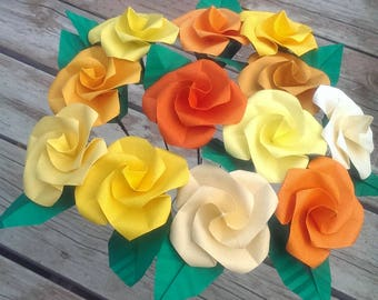 Origami flowers - twisted roses