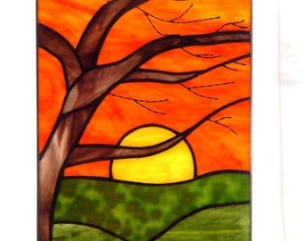 Birch Sunrise Stained Glass Panel