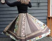 Patchwork Skirt, Long Panel skirt, Blue skirt