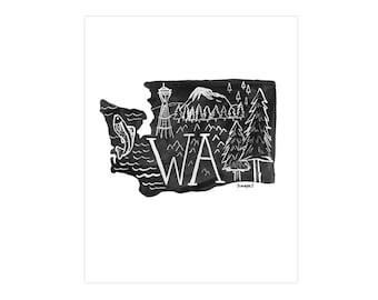 Washington State Print // 1canoe2 // Modern Art Print