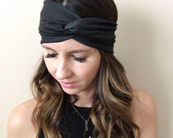 Black Headband, Bohemian Head Wrap, Women's Boho Turban, Women's Head Wrap, Hippie, Twist Turban Headband, Solid Wrap, Black Headband, Twist