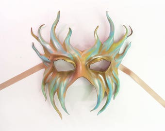Leather Mask Mermaid Merman Ocean Creature Fairy Poseidon but elegant enough for formal Lightweight and Comfortable Wearable Art