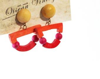 1980s Geometric Funky Stud Earrings