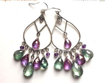 XMAS IN JULY 20% off, Violet and Green Fields of Flowers Mystic Quartz Boho Chandeliers, Purple and Green