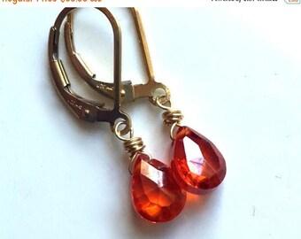 XMAS IN JULY 20% off, Bright Orange lever back earrings, Padparadscha Zirconia Earrings, lever back earrings