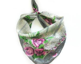 Large Vintage Floral Scarf - Pink Long Stem Roses / Pink and Gray Scarf with Rolled Hem / Vintage Silk Scarf