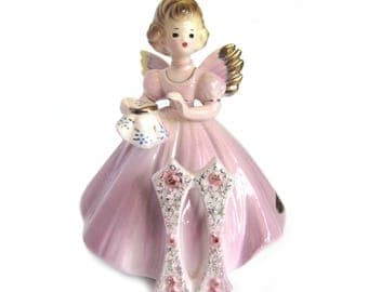 Vintage Ceramic 11th Birthday Angel Figurine / Lavender Dress / Doing Embroidery / Signed Josef Originals / Early Years with Tags