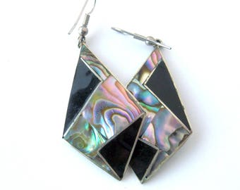 Vintage Boho Earrings Mexican Alpaca Silver with Mother of Pearl Shell Inlay / Dangling Pierced Earrings / Silver and Black