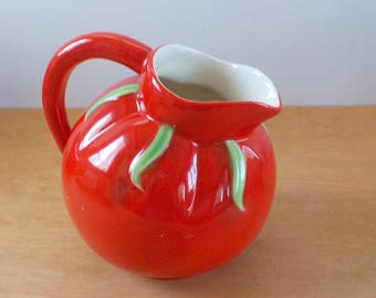 Vintage Tomato Ball Pitcher • Pantry Parade Round Pitcher • 1.5 Quart Red Pitcher