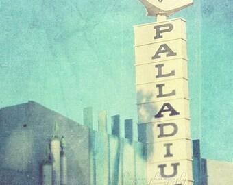 SALE Los Angeles photography, Hollywood Palladium, peppermint blue decor Sunset Blvd retro music rock star concert moderne art deco architec