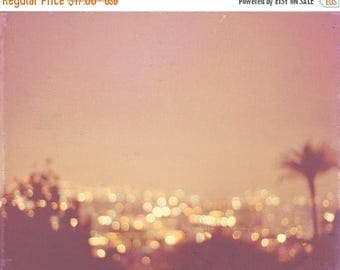 SALE night photography, photo of Los Angeles, Hollywood Summer Nights peach apricot palm tree cityscape gold bokeh lights California travel