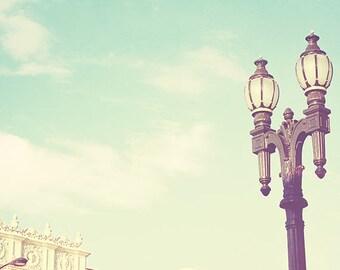 photography, Old Town Pasadena, California street view, Colorado Blvd, Rose Parade, architecture, romantic iron lamppost, photograph