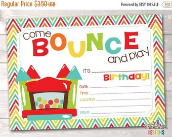 35% OFF SALE Bouncy Castle Instant Download Birthday Party Invitation Rainbow Bounce House Kids Printable Birthday Party Invite