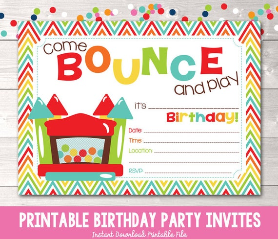 bouncy castle instant download birthday party invitation rainbow