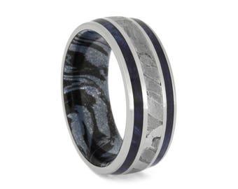 Seymchan Meteorite Wedding Band With Blue Box Elder Burl Pinstripes, Mokume Ring, Wood Wedding Band For Men