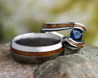 Hawaiian Wood Ring Set, Titanium Wedding Rings With Koa Wood, Beach Jewelry, Matching Rings