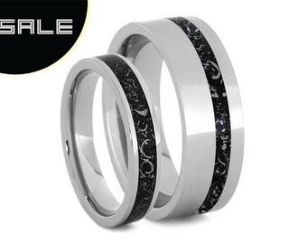 SALE - Matching Black Stardust Wedding Band Set, Meteorite Ring Set In Titanium With Enamel, Couples Wedding Anniversary Rings or Promise