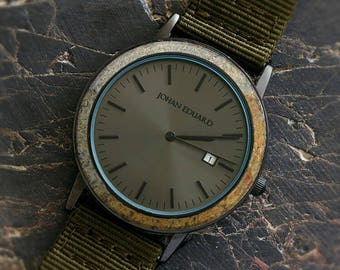 Dinosaur Bone Watch, Matte Black Watch With NATO Green Nylon Strap, Johan Eduard Watches