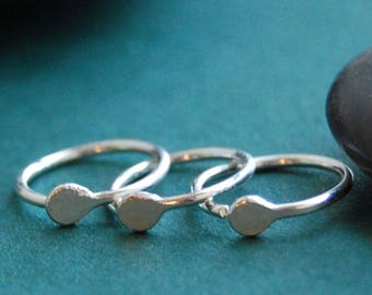 Multiple Piercing Budded Hammered Silver Set of 3 Hoop Earrings * Cartilage Tragus Daith Helix * Sleeper Hoop Earrings * Choose Your Size