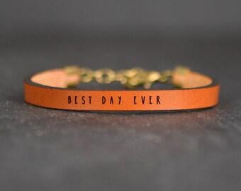 inspirational leather word bracelet | best day ever jewelry | carpe diem bracelet | inspiring quote | be happy bracelet | adoption gifts