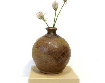 Brown Stoneware Weed Pot/  Vintage Studio Pottery Vase