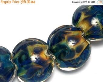 ON SALE 35% OFF Seven Blue & Orange Lentil Beads -10407502 Handmade Lampwork Glass