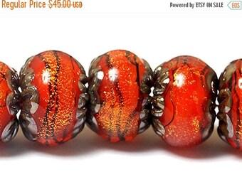 ON SALE 30% off NEW! Handmade Glass Lampwork Bead Set - Seven Bonfire Shimmer Rondelle Beads 10706801