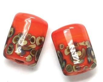 ON SALE 30% off Glass Lampwork Bead Sets - Six Coral w/Beige Mini Kalera Beads 11102703