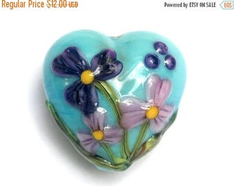 ON SALE 30% off Kiley's Bouquet Heart Focal Bead 11834305 - Handmade Glass Lampwork Bead