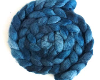 BFL Wool Roving - Hand Painted Spinning or Felting Fiber, Teal Blue