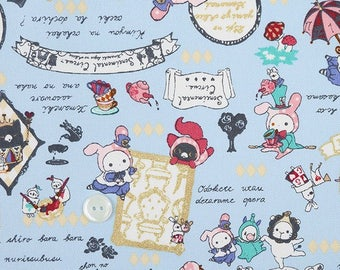Super Special half price-Half yard (1/2yd) San-X  Kawaii Sentimental Circus  Fabric (pale blue)-Ox fabric-Cotton Fabric