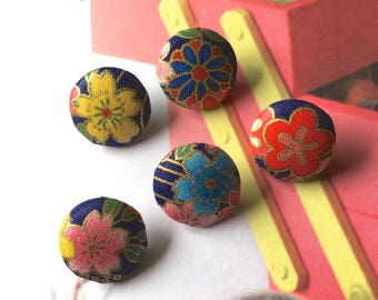 "Handmade Small Japanese Oriental Blossom Dark Navy Blue Pink Gold Red Floral Flowers Fabric Covered Buttons, Flat Backs, 0.75"" 5's"
