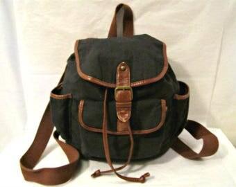 Backpack, Black Canvas Backpack, Textile Backpack, Medium size Backpack,  Non Leather Backpack,   Black Backpack